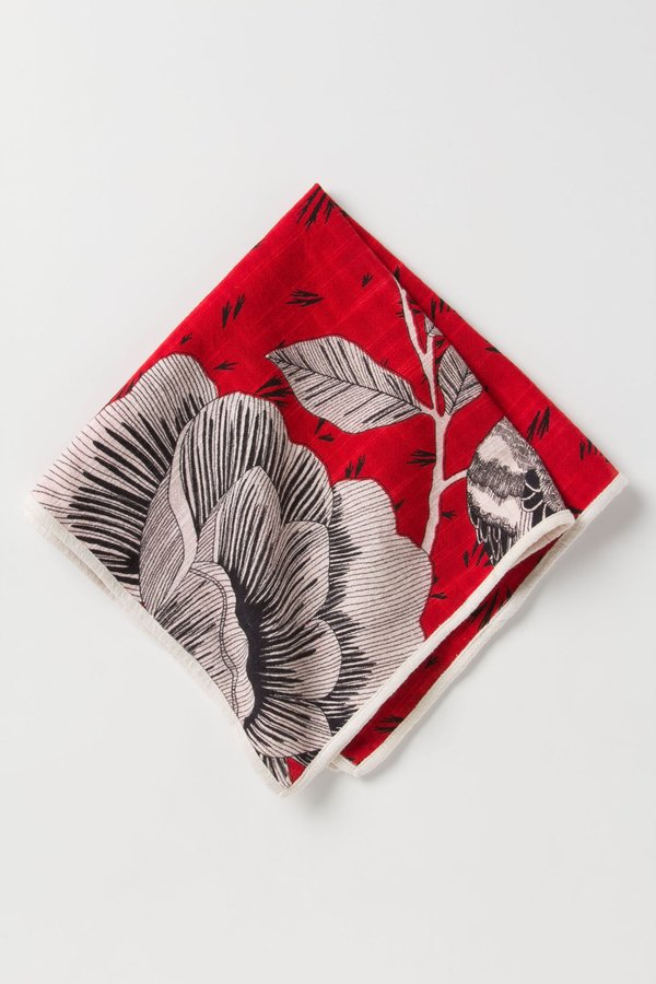 Anthropologie Sketched Cotton Roses Napkin
