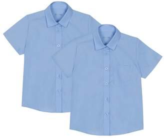 Debenhams Set Of 2 Girls' Blue Short Sleeve Regular Fit School Blouses