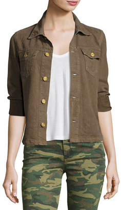True Religion Nora 3/4-Sleeve Shirt Jacket, Tan $179 thestylecure.com