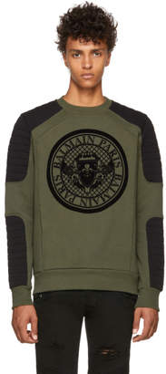 Balmain Green Flocked Coin Sweatshirt