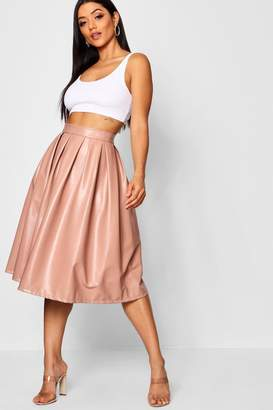 boohoo Leather Look Box Pleat Midi Skater Skirt