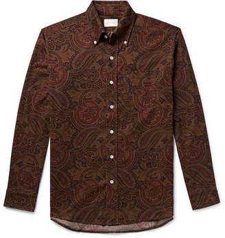 Leon Aimé Dore Button-Down Collar Paisley-Print Cotton-Corduroy Shirt