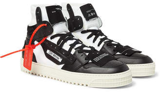 Off-White Off White Off-court Full-grain Leather And Canvas High-top Sneakers - Black