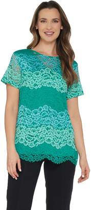Isaac Mizrahi Live! Tri-Color Floral Lace Tunic with Knit Back