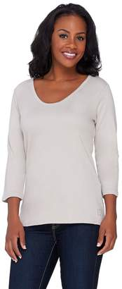 Liz Claiborne New York Essentials 3/4 Sleeve Scoop Neck Tee