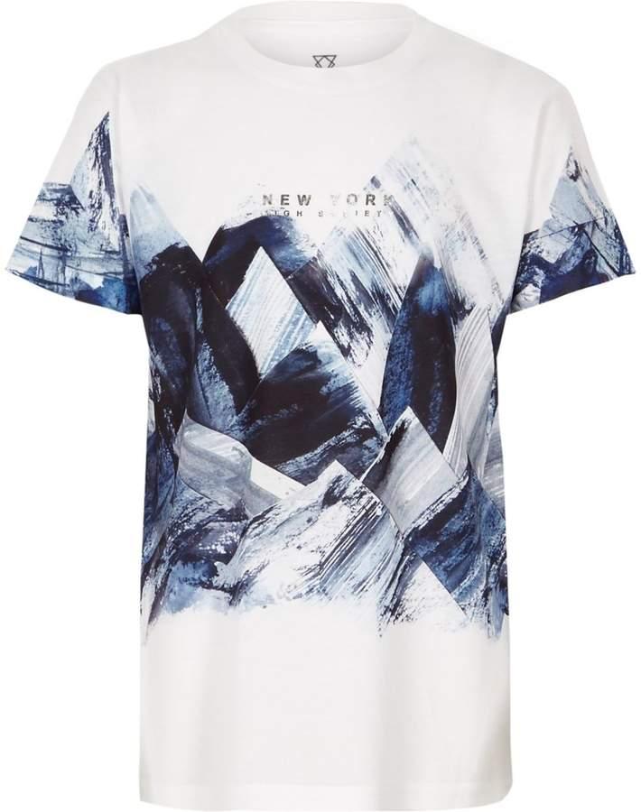 Boys White abstract print T-shirt