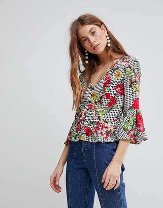 Glamorous Top With Button Front And Peplum Hem In Floral Gingham