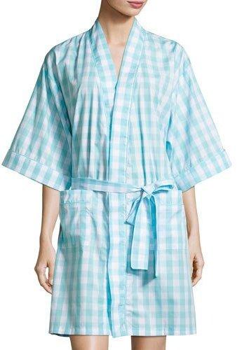 BedHeadBedhead Gingham Short Kimono Robe, Aqua