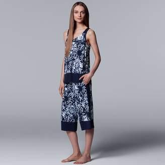 Vera Wang Women's Simply Vera Floral Tank & Culottes Pajama Set