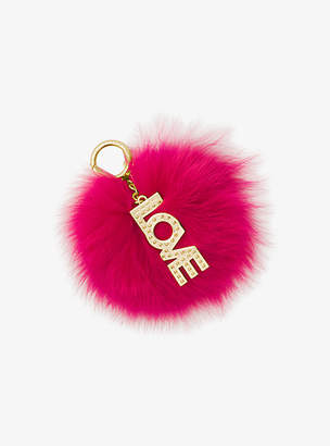 Michael Kors Fox Fur Key Chain With Love Charm