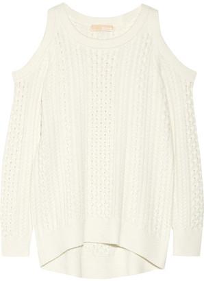 MICHAEL Michael Kors - Cutout Cable-knit Sweater - Ecru $155 thestylecure.com