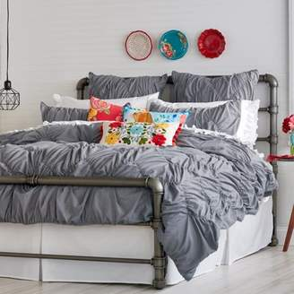 The Pioneer Woman Ruched Chevron Duvet Cover, Grey