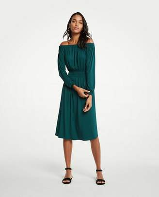 Ann Taylor Petite Off The Shoulder Smocked Waist Dress