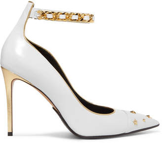 Balmain Embellished Metallic-trimmed Leather Pumps - Off-white