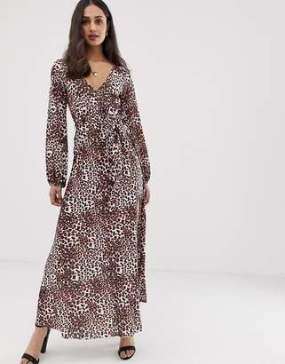 Asos Design DESIGN belted maxi dress with pleated skirt in leopard print