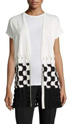 Lafayette 148 New York Matte Crepe Two-Tone Cable-Knit Vest