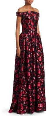Zac Posen Off-The-Shoulder Floral Jacquard Gown
