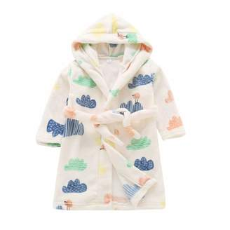 LBZE Toddlers/Kids Hooded Robe Soft Fleece Bathrobe Children Pajamas Baby Plush Robe