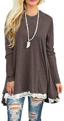 story. Fashion Women's Casual Lace Long Sleeve T-Shirt Dress 2XL