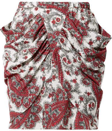 Isabel Marant - Tilena Draped Printed Crepe De Chine Mini Skirt - Red