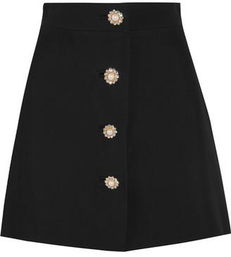 Miu Miu - Embellished Cady Mini Skirt - Black