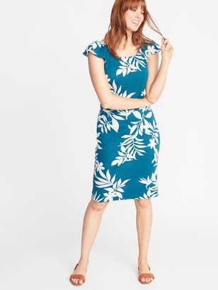 Old Navy Ruffle-Trim Ponte-Knit Sheath Dress for Women