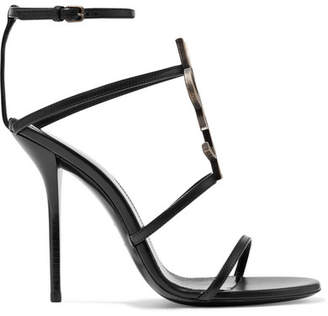 Saint Laurent Cassandra Logo-embellished Leather Sandals - Black