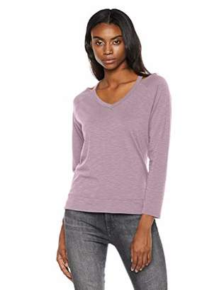 Painted Heart Women's Long Sleeve V-Neck Cut Out Relaxed T-Shirt