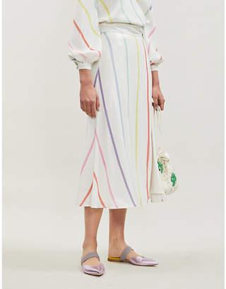 Olivia Rubin Astrid split-hem high-waist striped sequinned midi skirt