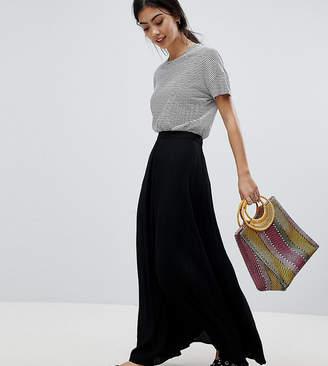 Asos DESIGN Petite crinkle maxi skirt with box pleat