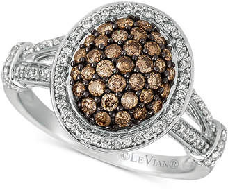 LeVian Le Vian Chocolatier Diamond Oval Cluster Ring (7/8 ct. t.w.) in 14k White Gold