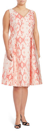 Adrianna PapellAdrianna Papell Plus Ikat-Print Fit-&-Flare Dress