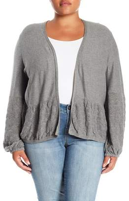 Melrose and Market Pointelle Trim Open Front Cardigan (Plus Size)