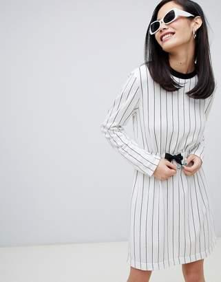 Monki stripe mini drawstring dress in off white