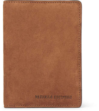 Brunello Cucinelli Suede and Textured-Leather Passport Cover - Men - Tan