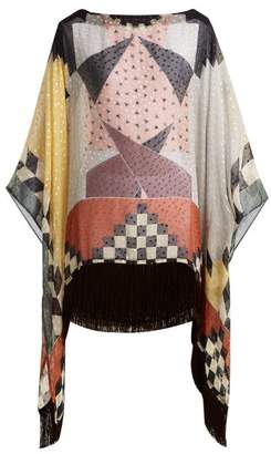Etro Fil Coupe Silk Blend Chiffon Poncho - Womens - Multi
