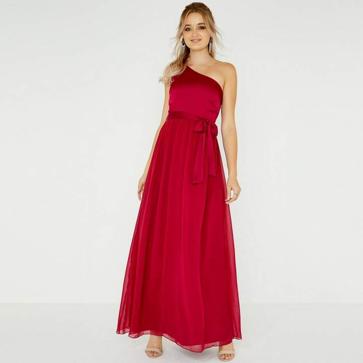 Red Pearl One Shoulder Satin Top Maxi Dress