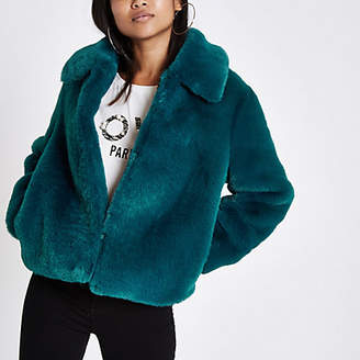 River Island Petite teal blue plush faux fur coat