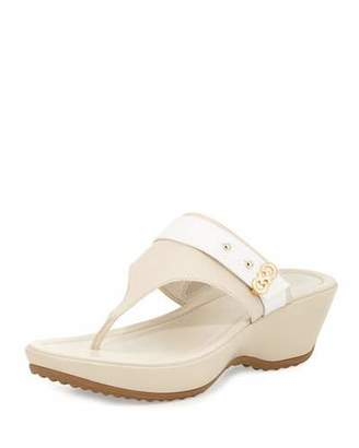 Cole Haan Margate Wedge Thong Sandal, Sandshell $160 thestylecure.com