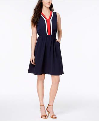 Monteau Petite Varsity-Stripe Skater Dress