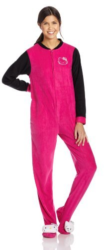 Hello Kitty Junior's Pink and Black Pillow Head Footed Pajama