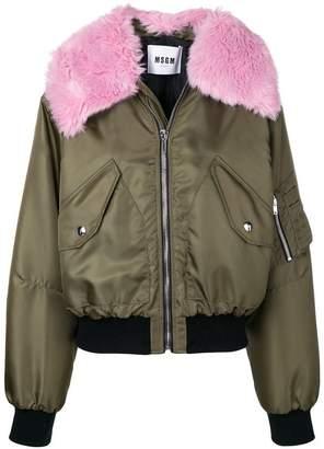MSGM faux fur trimmed bomber jacket
