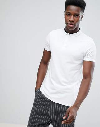 Asos Pique Polo With Contrast Collar Detail In White