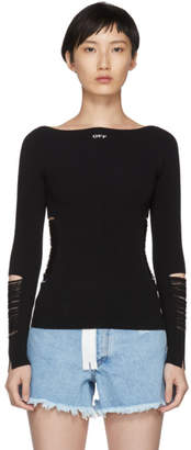 Off-White Black Ripped Knit Sweater