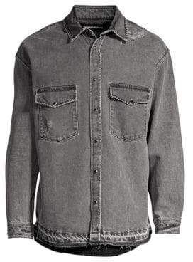 The Kooples Washed Denim Button-Down Shirt