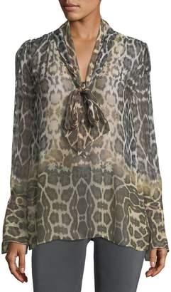 Equipment Jacqueleen Tie-Neck Long-Sleeve Leopard-Print Chiffon Blouse