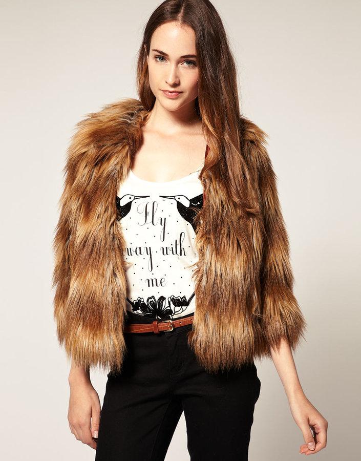 River Island Long Fur Jacket