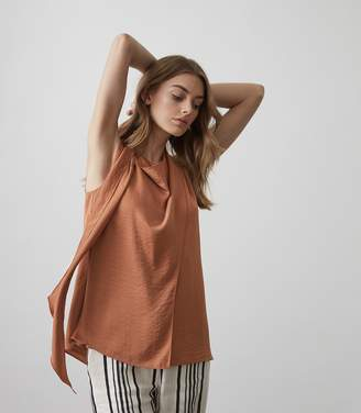 Reiss Claire Drape-Detail Sleeveless Top