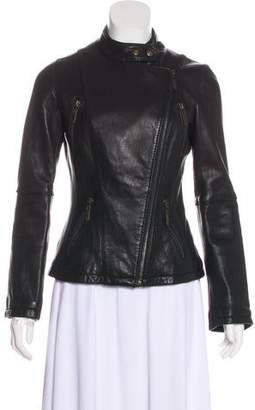 MICHAEL Michael Kors Leather Zip-Up Jacket