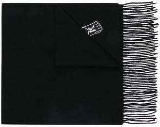 Karl Lagerfeld patch-work fringed scarf